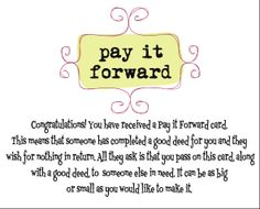 Pay It Forward Cards | Stringtown Home | Pinterest | Pay it ...