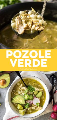 Hearty and comforting, this spicy Pozole Verde is made with slow cooked shredded chicken, hominy, and a spicy tomatillo and pepper blend! Perfect for those chilly days ahead! #pozoleverde #mexicanstew #comfortfood