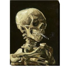 Skull with Burning Cigarette by Vincent Van Gogh Premium Gallery-Wrapped Canvas Giclee Art (Ready to Hang) ** More info could be found at the image url. (This is an affiliate link) #HomeDecorInspiration