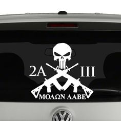 2nd Amendment 3 Percent Molon Labe Crossed Rifles Vinyl Decal Sticker. Cut from…