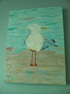 My seagull- I painted this for our coastal decor! Love how it turned out! Proud of myself this is my third painting!