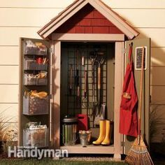 DIY Garden Closet Storage Project -- Small but compact, this shed will hold most of your gardening tools so they're close by and well-organized!
