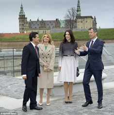 The demonstrator did not seem to affect the royal's visit to the castle (pictured) and the group later paid a visit to the M/S Museum of Maritime in Elsinore