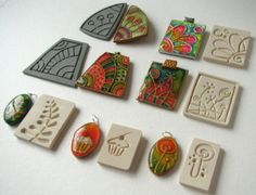 create molds for polymer clay with carved erasers by fabi