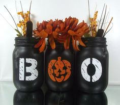 Halloween Themed Painted Mason Jars - Rustic-Style, Set of Three, Hand Painted Mason Jars by curiouscarrie on Etsy Boo Halloween, Diy Halloween Home Decor, Halloween Table Decorations, Decoration Table, Halloween Themes, Halloween Crafts, Holiday Crafts, Classy Halloween, Happy Halloween