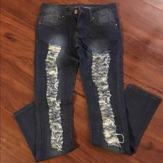 Jeans Jeans with factory fraying down legs. Last pic shows the factory material inside the fray areas. Worn once. Skinny leg. Dark blue Puzzle Jeans Jeans Skinny