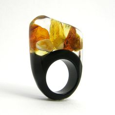 Amber and Black Resin Ring, by sisicata of Warsaw, Poland. $40