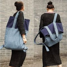 Bag - New Fashion Mixed Color Backpack&shoulder Bag(linen Material)