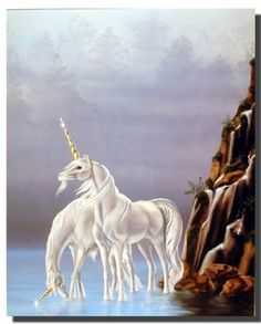 Wow! Extremely beautiful! This poster celebrates the beauty of silver unicorn fantasy horse. This poster captures the image of two white unicorn horse with a golden horn growing out of the middle of its forehead standing in river near mountain is sure to grab lot of attention. This poster will add unique elegant atmosphere to your home and transform the entire look of your home. You'll definitely love this poster at every moment you look at it.