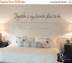 VACATION SALE Bedroom Decal-Together is My por RoyceLaneCreations