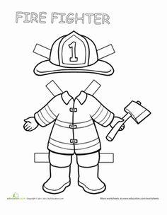 Second Grade Paper Dolls Worksheets: Firefighter Paper Doll
