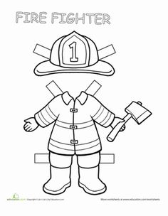 Firefighter paper doll colouring, fire fighters and