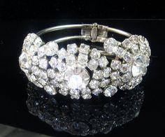 Vintage Wide Rhinestone Clamper Bracelet by EclecticVintager, $80.00