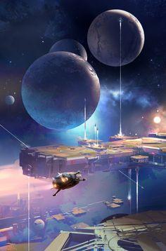 Best Ideas for anime fantasy art science fiction Fantasy Kunst, Sci Fi Fantasy, Fantasy World, Space Fantasy, Fantasy Fiction, Anime Fantasy, Dark Fantasy, Concept Art Landscape, Fantasy Landscape