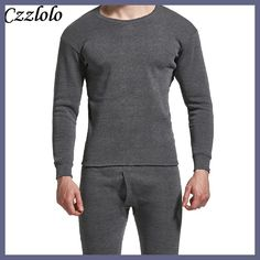 Czzlolo Winter Men Long Johns Thicken Mens Thermal Underwear Sets Plus Fluff Warm Long John O-Neck Thermal Undershirts Trousers