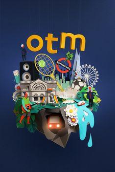 Summer in London. Editorials and cover for TFL's OTM magazine. Paper Pop, London Summer, Paper Illustration, London Transport, London Underground, Art Director, Magazine, Christmas Ornaments, Creative