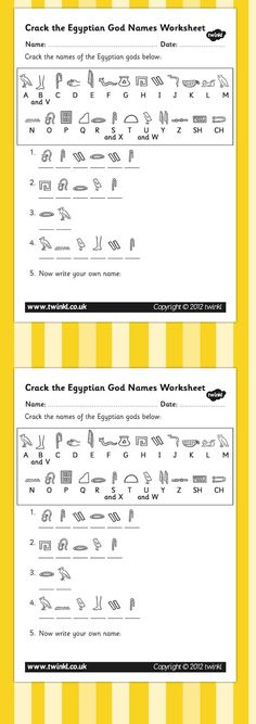 KS2 Ancient Egypt- Crack the Hieroglyphs Egyptian Gods Names Worksheets