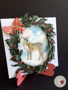 A beautiful holiday wreath created by Susan Tierney-Cockburn of Susan's Garden Club - using CountryScapes - Critters 3, Garden Notes - Holiday Holly & Berries, embossing folder - Sprig, Els van de Burgt Studio - Card Stand/Easel, and PanPastels. Find the supplies here: http://www.elizabethcraftdesigns.com/