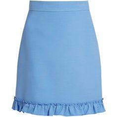 Gucci Ruffled-hem silk and wool-blend skirt (3.260 BRL) ❤ liked on Polyvore featuring skirts, mini skirts, bottoms, light blue, neck ties, blue skirt, light blue skirt, silk mini skirt and blue high waisted skirt