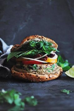 Summer sandwich with quinoa patties and fresh summer herbs | The Awesome Green