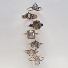 Vale Jewelry Shay, Athena and Delphine Rings Cute Jewelry, Bridal Jewelry, Jewelry Art, Jewelry Accessories, Jewlery, Champagne Diamond, Grey Diamond Ring, Pretty Rings, Fantasy Jewelry