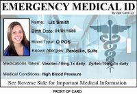 Customized Emergency Medical ID Badge (set of 2)  The Stat Card ID Emergency Medical ID Card has been made simple on purpose! - On a card that is just like your Driver's License, we have life-saving information on the front.