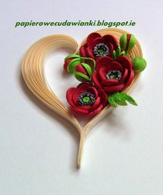 quilled heart and poppies