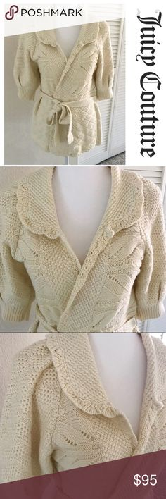 """Juicy Couture   Cashmere Cardigan Sweater Cozy cardigan by Juicy Couture!  •D E T A I L S•  Size: M Brand: Juicy Couture Color: Cream Length: 25"""" Material: 71% Cotton 29% Cashmere Description: Short sleeve cardigan with belt is super soft! Beautiful cream color, crocheted detail. In excellent condition!   Retail MSRP (not including tax): $298.00 Juicy Couture Sweaters Cardigans"""