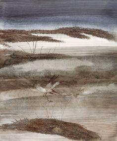 Sidney Nolan (Australian, Bird and Outback. Oil on paper on board, 63 x cm. Jeffrey Smart, Sidney Nolan, Landscape Paintings, Landscapes, Pacific Rim, Australian Artists, Figure Painting, Cool Artwork, Sydney