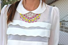 DIY Painted Rhinestone Necklace - I guess all she did was paint the stones with nail polish, how fun is that? #diy #necklace