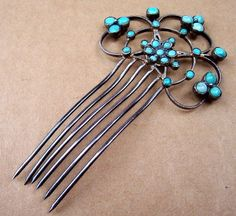 Turquoise Cabochon Hair Comb Late Victorian Gilt Filigree Hair from spanishcomb on Ruby Lane