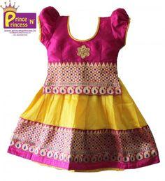 Kids Purple Yellow Royal Border Pavadai Langa