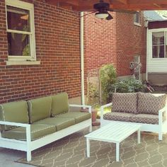 Simple White Outdoor Sofa +Love Seat + Coffee Table | Do It Yourself Home Projects from Ana White