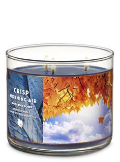 Scented Candles Crisp Morning Air Candle by Bath & Body Works Bath Candles, 3 Wick Candles, Scented Candles, Aromatherapy Candles, Perfume Hermes, Candle Store, Perfume Store, Fall Scents, Bath And Bodyworks