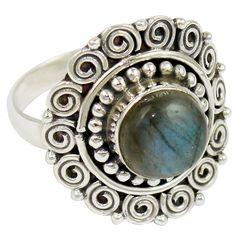 Labradorite 925 Sterling Silver Ring Jewelry Size- 8.75 SR-1980 #Allisonsilverco