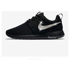 0af56cf49c29 Womens Nike Roshe One Black Custom Bling Crystal Swarovski Sneakers