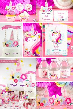 Unicorn Party Supplies Printables Kit Decorations Package Birthday R