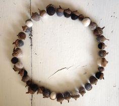 Acorn decoration  natural  felted acorns  woodland door Wolwit