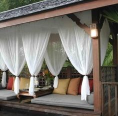 The Fancy Pergola Mosquito Curtains Designs with Pergola Screens Pergola Curtains Insects Shade 29145 above is one of pictures of home decorating and Curta Pergola Curtains, Mosquito Curtains, Curtains With Blinds, Porch With Curtains, Net Curtains, Mosquito Net, White Curtains, Outdoor Drapes, Outdoor Lounge