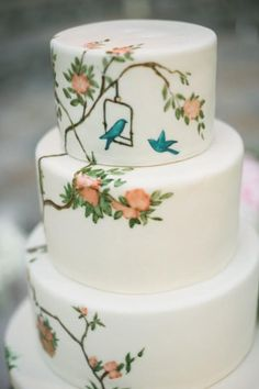 Hand painted cakePhotography by amyandstuart.com, Coordination by pryorevents.com, Floral Design by hiddengardenflowers.com