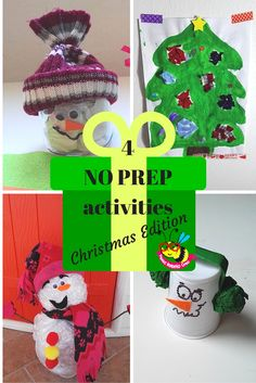 4 NO PREPactivities for toddler christmas snowman, christamstree collage