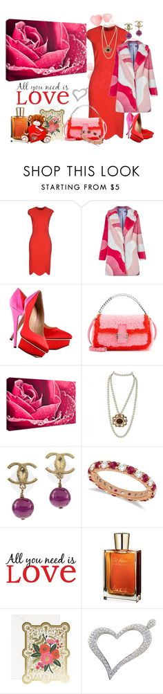 """Hot Red Dress"" by lexuslady on Polyvore featuring Alexander McQueen, VIVETTA, Charlotte Olympia, Fendi, NuCasa, Chanel, Allurez, Wall Pops! and Juliette Has A Gun"