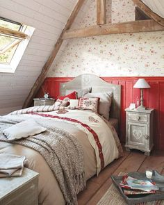 Wouldn't it be lovely to wake up in one of these dreamy cottage attic bedrooms? Check out these examples of wonderful attic bedroom designs and decor. Decor, Home, Bedroom Red, Red Bedroom Design, Cozy Bedroom, Bedroom Decor, Cottage Decor, Interior Design, Attic Bedrooms