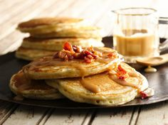 Peanut Butter & Bacon Pancakes with Marijuana & Maple Syrup. If you haven't had the combination of peanut butter and bacon you are missing out! This quick and easy recipe has a sweet and savory flavor with the special taste of cannabis butter. Pancakes And Bacon, Sweet Potato Pancakes, Bacon Pancake, Waffles, Pumpkin Pancakes, Peanut Butter Syrup Recipe, Butter Sauce, Brunch Recipes, Breakfast Recipes
