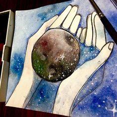 Yo aquí con ganas de encerrarte en mi inestable universo Y tu allá formando galaxias con tan sólo sonreír. ☄