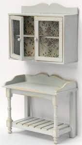 Shabby chic kitchen cupboard and workbench in 1/12 scale