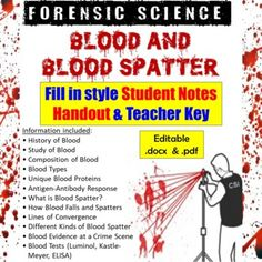 Student version is 12-pages and a 12-page Teacher key is included as well.** Fill-in packets come as both PDF and Word (.docx) files so you can edit the document as needed.The Blood and Blood Spatter Notes cover the following topics:• History of Blood• Study of Blood• Composition of Blood• Blood Typ... Forensic Science, Science Resources, Blood Test, Forensics, No Response, Fill, Composition, Presentation, Pdf