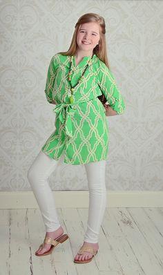 Green Pocket Self-Tie Top- Tween Style