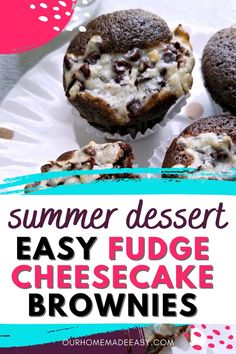 Make these easy Fudge Cheesecake Brownies all summer long! Pop them in the fridge and you've got a perfectly chilled dessert that everyone will love. Easy Cheesecake Recipes, Cheesecake Brownies, Brownie Recipes, Cookie Recipes, Dessert Recipes, Eclair Recipe, Easy Summer Desserts, Trifle Pudding, Easy Fudge