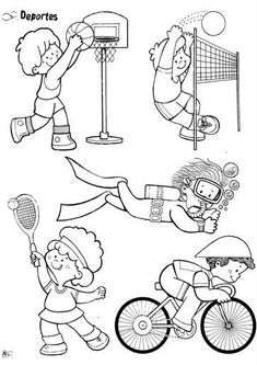 04 Más Sports Coloring Pages, Colouring Pages, Coloring For Kids, Coloring Sheets, Sports Day, School Sports, Kids Sports, Sports Clips, Theme Sport